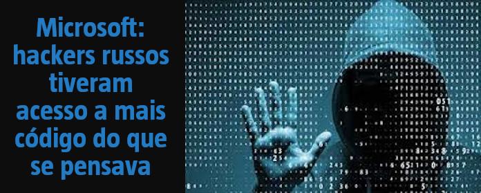 """Microsoft: hackers russos tiveram acesso a mais código do que se pensava"""" width="""